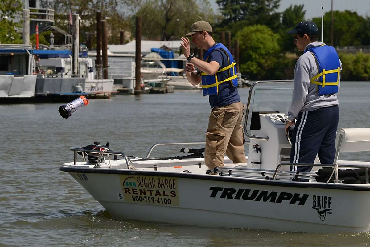 In this provided photo, Andrew Tinka tosses an instrumented floating