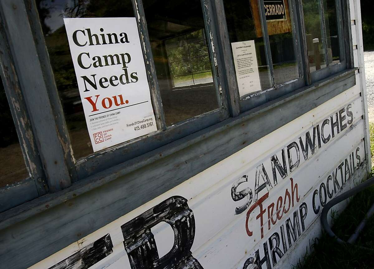 A sign beckons visitors at the now closed restaurant that used to serve local shrimp. California State Senator Joe Simitian has unveiled a plan to save state parks including the popular China Camp State Park in Marin County, Calif.