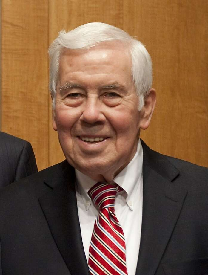 (FILES): This March 14, 2012 file photo shows US Senator Richard Lugar (R-Indiana) prior to testifing on Sudan and South Sudan on Capitol Hill in Washington, DC. Long-serving Republican Senator Richard Lugar was routed May 8, 2012 in  Indiana primary, marking the demise of a moderate at the hands of a conservative who deemed him too willing to compromise.    AFP PHOTO / Files / Saul LOEBSAUL LOEB/AFP/GettyImages Photo: Saul Loeb, AFP/Getty Images