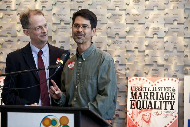 John Lewis, left, executive director of Marriage Equality USA and his partner of 25 years Stuart Gaffney speak during a rally celebrating Obama's announcement that he supports gay marriage at the San Francisco Lesbian Gay Bisexual Transgender Community Center in San Francisco, Calif., May 9, 2012. Jason Henry/Special to The Chronicle Photo: Jason Henry, Special To The Chronicle