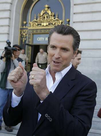 Calif. Lt. Gov. Gavin Newsom smiles during a news conference in front of San Francisco City Hall Tuesday, May 9, 2012 as he reacts to his support of President Barack Obama declaring his support for gay marriage. Newsom was the mayor of San Francisco when the first gay marriages were allowed in California. (AP Photo/Paul Sakuma) Photo: Paul Sakuma, Associated Press