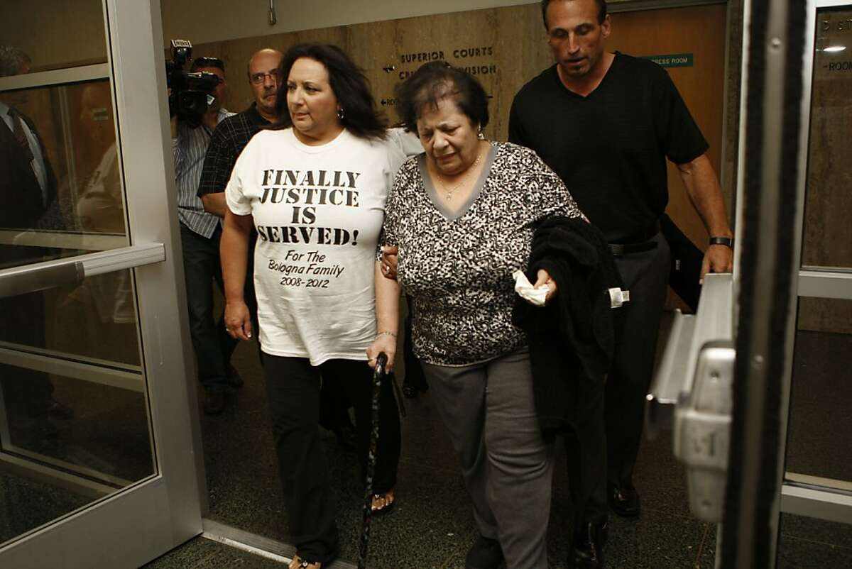 Anthony Bologna's mother Lena Bologna (middle) and his sister (left) at the Hall of Justice in San Francisco, Calif., leave after the jury's verdict on Wednesday, May 10, 2012. Edwin Ramos, 25, was convicted today of the mistaken-identity murders of Lena's San Francisco son and two grandsons.
