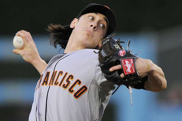 San Francisco Giants starting pitcher Tim Lincecum throws to the plate during the first inning of their baseball game against the Los Angeles Dodgers, Wednesday, May 9, 2012, in Los Angeles. (AP Photo/Mark J. Terrill) Photo: Mark J. Terrill, Associated Press