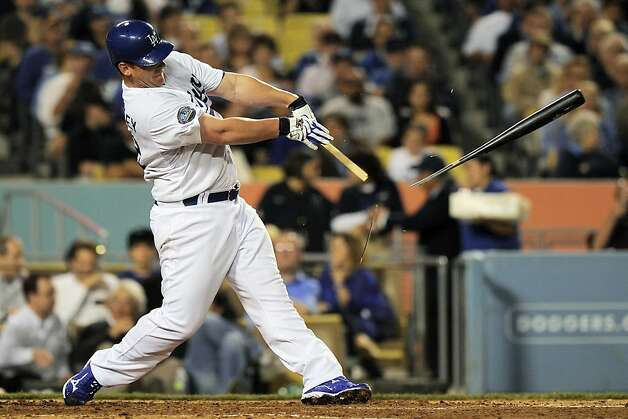 Los Angeles Dodgers' Chad Billingsley breaks his bat as he hits a single during the third inning of their baseball game against the San Francisco Giants, Wednesday, May 9, 2012, in Los Angeles. (AP Photo/Mark J. Terrill) Photo: Mark J. Terrill, Associated Press