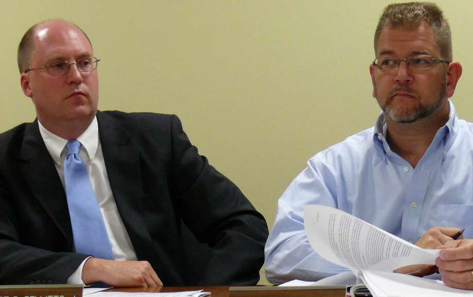 Board of Finance Vice Chairman Robert Bellitto Jr., left, joined fellow board members Wednesday in criticizing the Representative Town Meeting decision to cut the 2012-13 budget's contingency account. He is pictured with board member Christopher DeWitt. Photo: Genevieve Reilly / Fairfield Citizen