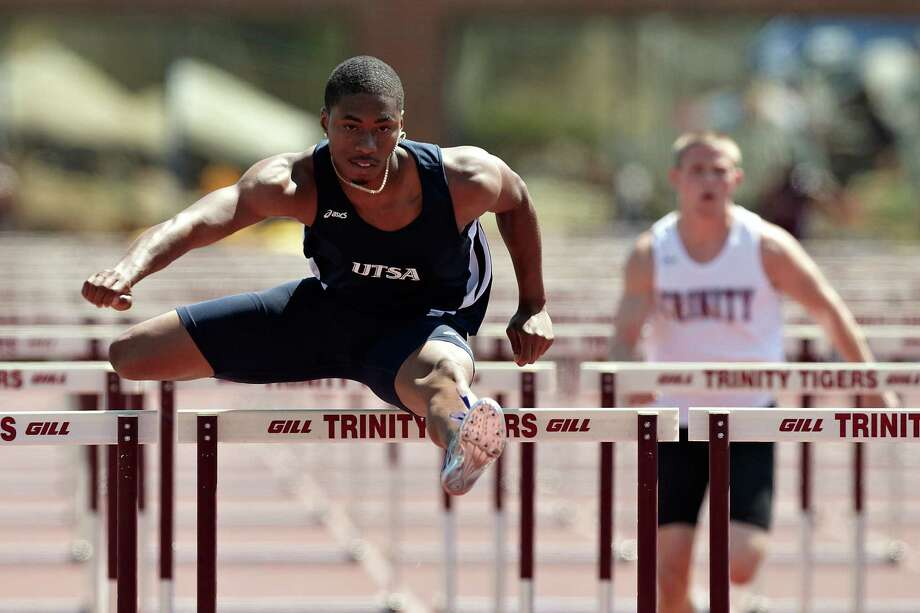 Keyunta Hayes holds UTSA's record in the 110-meter hurdles (13.75 seconds) and is second in the 400 hurdles (50.45). Photo: Jeff Huehn / ©2011 Jeff Huehn