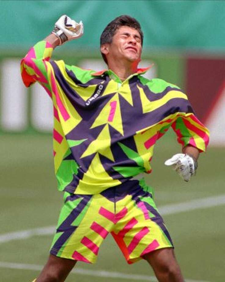 In both the 1994 and 1998 World Cups, Mexico goalkeeper Jorge Campos opted to wear this — strategic distraction or just stupid, you decide.