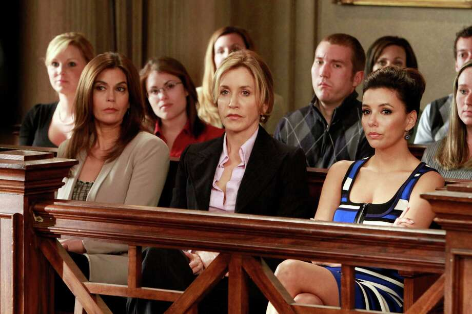 "Terri Hatchter, Felicity Huffman and Eva Longoria in a courtroom scene from ""Desperate Housewives."" Photo: Courtesy"