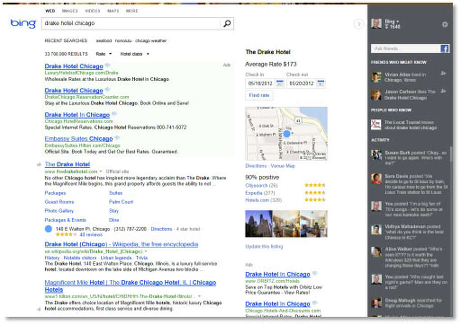 "A screen shot of the new Bing, showing the search results (left), ""Snapshot"" column (center) and social ""Sidebar"" (right). Photo: Microsoft"
