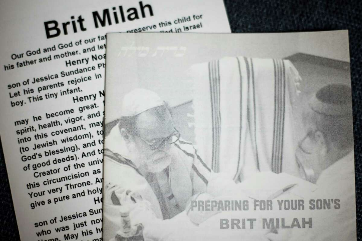 Pamphlets Max Mintz MD gives out, Wednesday, May 2, 2012, in Houston. Mintz is perhaps the busiest mohel (a Jewish person trained in the practice of brit milah