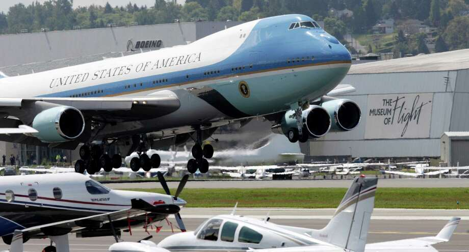 The Boeing-built Air Force One lands near the Museum of Flight, Thursday, May 10, 2012, in Seattle. President Barack Obama was in town for fundraising events. Photo: AP