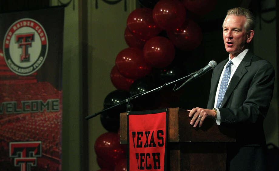 Texas Tech coach Tommy Tuberville speaks to program supporters at the Scottish Rite Banquet Center on Thursday, May 10, 2012. Photo: JOHN DAVENPORT, SAN ANTONIO EXPRESS-NEWS