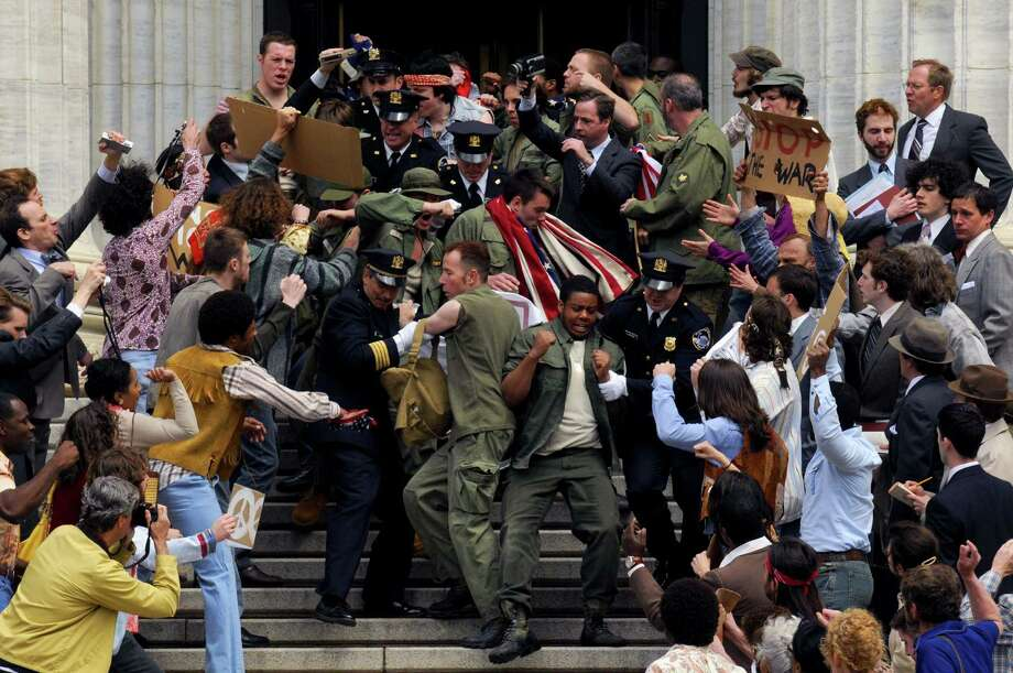 """A demonstration scene is filmed for the HBO movie """"MUHAMMAD ALI?S GREATEST FIGHT"""" on the stairs of the State Education building in Albany N.Y. Thursday May 10, 2012. (Michael P. Farrell/Times Union) Photo: Michael P. Farrell"""