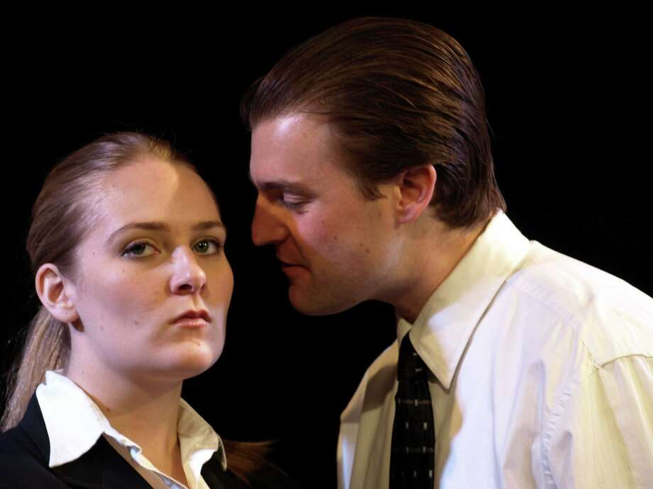 Kelsy Nevins plays John Williamson, left, and John Schmeiderer plays Ricky Roma in the Mostly Harmless Theater Company's debut, a co-ed version of David Mamet?s ?Glengarry Glen Ross? (Courtesy Mostly Harmless)