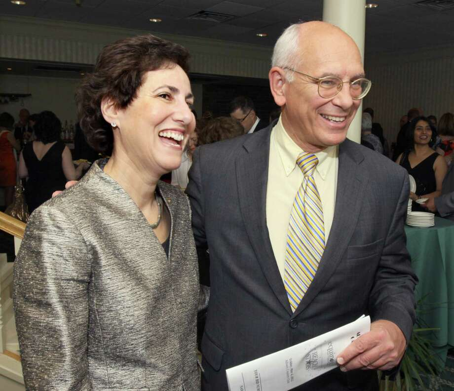 "Voorheesville, NY - May 4, 2012 - (Photo by Joe Putrock/Special to the Times Union) - Key Bank Vice President of Community Relations Ellen Sax(left) and Congressman Paul Tonko(right) during the ""Reach for the Stars"" Gala, to benefit Equinox. Photo: Joe Putrock / Joe Putrock"