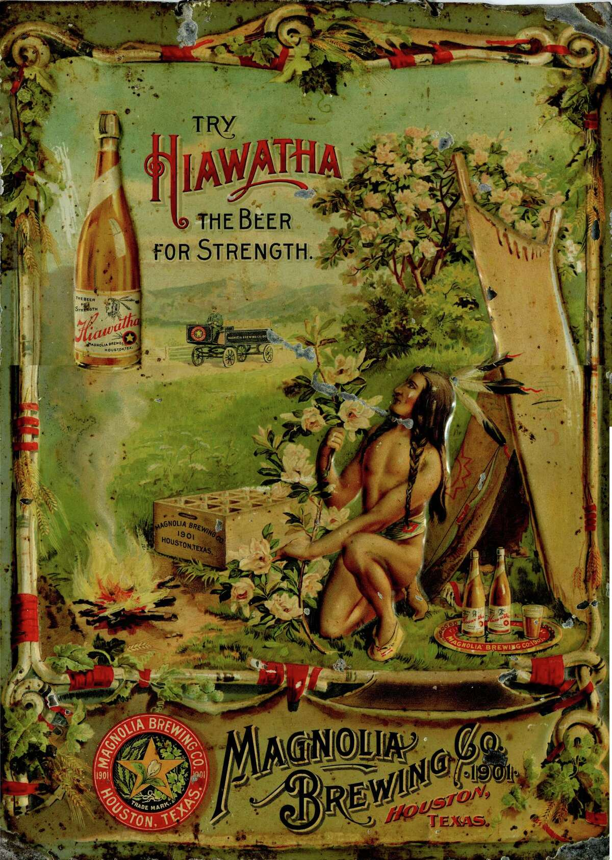 Commemorative tin for Hiawatha, an early Houston beer. Collection of Philip Brogniez. From