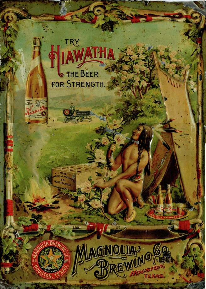"""Commemorative tin for Hiawatha, an early Houston beer. Collection of Philip Brogniez. From """"Houston Beer: A Heady History of Brewing in the Bayou City"""" by Ronnie Crocker. Photo: Collection Of Philip Brogniez"""