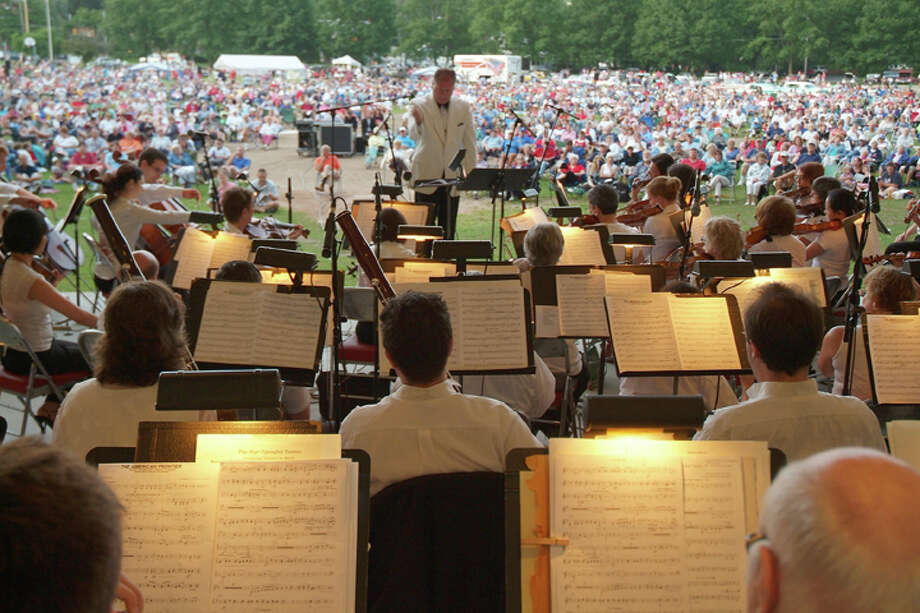 Charles Peltz conducts the Glens Falls Symphony at Crandall Park in Glens Falls on July 4th 2010. (Glens Falls Symphony Orchestra)