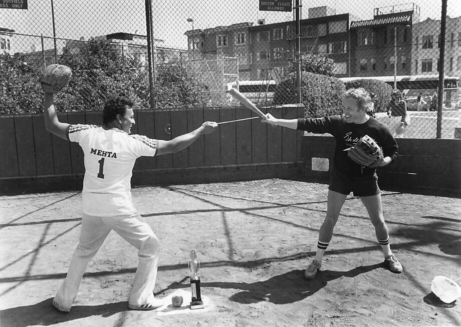 The bases were loaded as New York Philharmonic Music Director Zubin Mehta crossed bats and batons with San Francisco Symphony Music Director Edo de Waart at the softball match of the year: New York Philharmonic Penguins vs. San Francisco Sympho-maniacs. Photo: Ron Scherl
