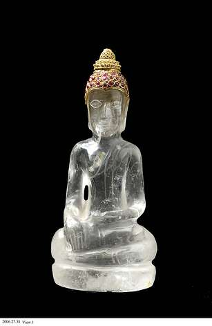 Seated Buddha, perhaps 1400-1500. Thailand. Rock crystal with gold and ruby. Gift from Doris Duke Charitable Foundation's Southeast Asian Art Collection, 2006.27.38. © Asian Art Museum of San Francisco.  Seated Buddha, perhaps 1400-1500. Thailand. Rock crystal with gold and ruby. Gift from Doris Duke Charitable Foundation's Southeast Asian Art Collection, 2006.27.38. © Asian Art Museum of San Francisco.  Permission is granted to reproduce these images solely in connection with a review or editorial commentary on the PHANTOMS OF ASIA: CONTEMPORARY AWAKENS THE PAST exhibition at the ASIAN ART MUSEUM May 18–September 2, 2012. All other reproductions are strictly prohibited without the prior written consent of the copyright holder and/or museum. Photo: Asian Art Museum