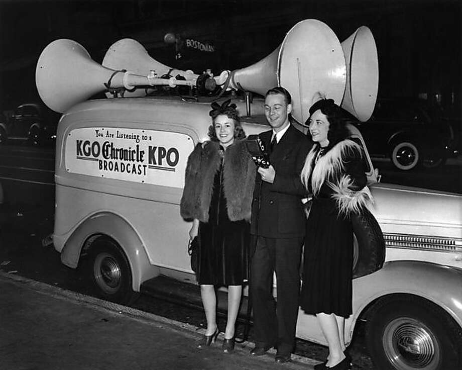Circa 1940, KGO and KPO (which evolved into KNBR) were part of GE/NBC and partnered with the Chronicle. Posing at a sound truck are (left to right): Actress Ruth Sprague, announcer Budd Heyde and singer Helen Morgan. Photo: Ourtesy Caryl Heyde Saunders