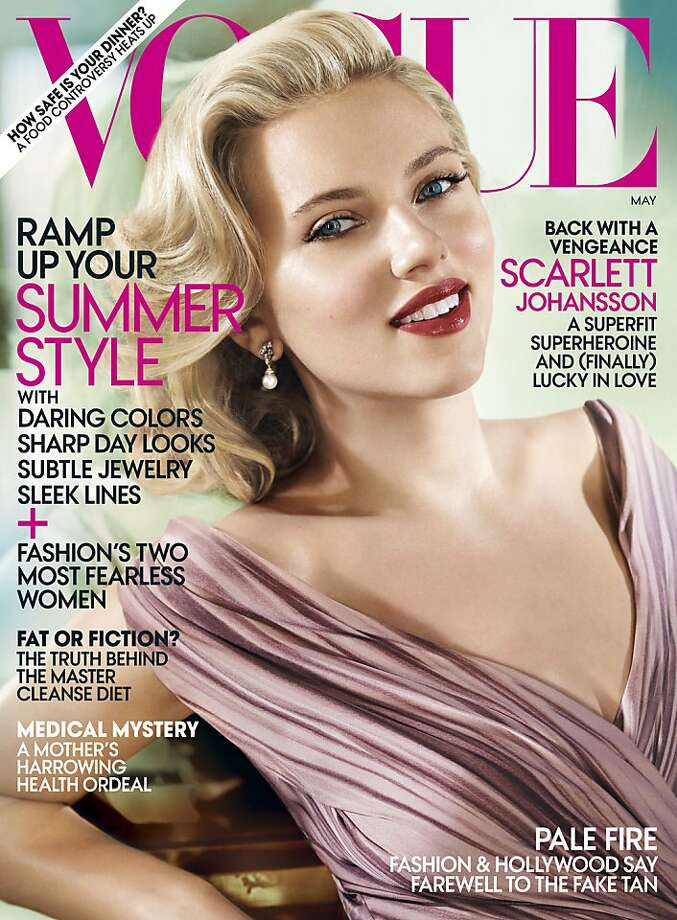 "In this magazine cover image released by Vogue, actress Scarlett Johansson is shown on the cover of the May 2012 issue of ""Vogue."" (AP Photo/Vogue) Photo: Associated Press"