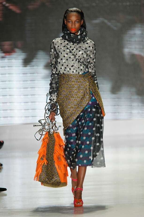 A polka-dotted look from Kim Tran, inspired by Little Edie of Gray Gardens. The elaborate handle on the fringed purse was created by Orly Ruaimi, who received a degree in fine art sculpture, jewelry from the Academy of Art University. Photo: Randy Brooke / AAU