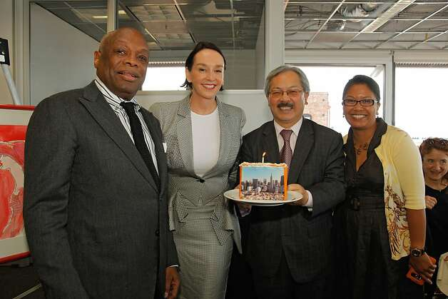 Academy of Art President Elisa Stephens is flanked by former Mayor Willie Brown and current Mayor Ed Lee at a May luncheon at the Cannery, which is owned by the academy. Photo: Randy Brooke / AAU / SF