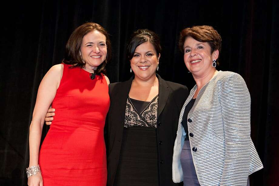 Keynote speaker Sheryl Sandberg with Raquel Donoso and Aida Alvarez at the Latino Community Foundation's seventh annual Celebrating Philanthropy con Sabor Latino! gala on Tuesday, March 22 at the Fairmont in San Francisco. Photo: Aubrie Pick, Aubrie Pick For Drew Altizer