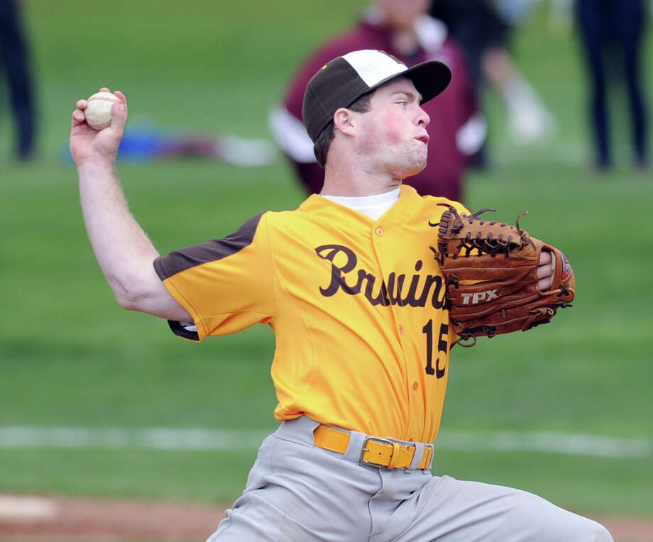 Brunswick School pitcher Brian Schutzman throws during high school baseball game between Brunswick School and St. Luke's at Brunswick School in Greenwich, Thursday afternoon, May 10, 2012. Brunswick won the game, 12-3. Photo: Bob Luckey / Greenwich Time