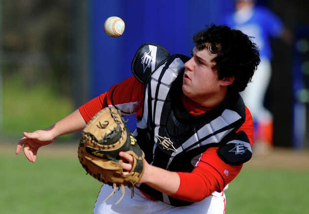 Fairfield Prep's Kevin Sinclair bobbles the ball at home plate letting West Haven take the lead late in the game, during baseball action in West Haven, Conn. on Thursday May 10, 2012. Photo: Christian Abraham