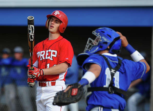 Fairfield Prep's Mike Smeriglio reacts after striking out, during baseball action against West Haven in West Haven, Conn. on Thursday May 10, 2012. Photo: Christian Abraham