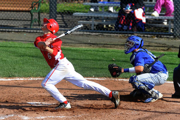 Fairfield Prep's Dave Gearics tracks his hit, during baseball action against West Haven in West Haven, Conn. on Thursday May 10, 2012. Photo: Christian Abraham