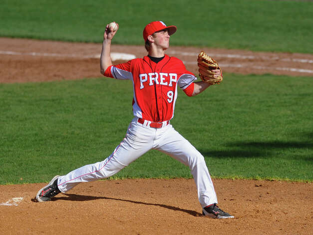 Fairfield Prep's Austin Bonadio pitches against West Haven, during baseball action in West Haven, Conn. on Thursday May 10, 2012. Photo: Christian Abraham