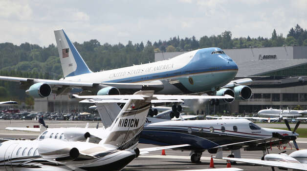 Air Force One touches down with U.S. President Barack Obama at Boeing Field during a visit to Seattle on Thursday, May 10, 2012 . The president was scheduled to attend two fund raisers during the visit. Photo: JOSHUA TRUJILLO / SEATTLEPI.COM