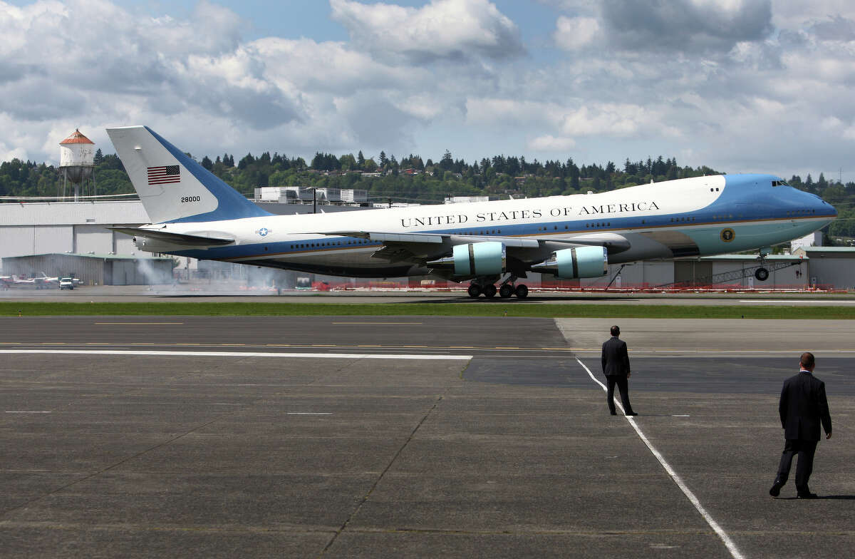 Air Force One touches down with U.S. President Barack Obama at Boeing Field during a visit to Seattle on Thursday, May 10, 2012 . The president was scheduled to attend two fund raisers during the visit.