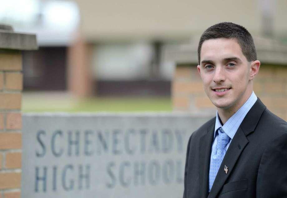 Dan Garrow stands in front of Schenectady High School in Schenectady, N.Y. May 10, 2012.  Garrow is running for Schenectady School Board.   (Skip Dickstein / Times Union) Photo: SKIP DICKSTEIN / 00017624A