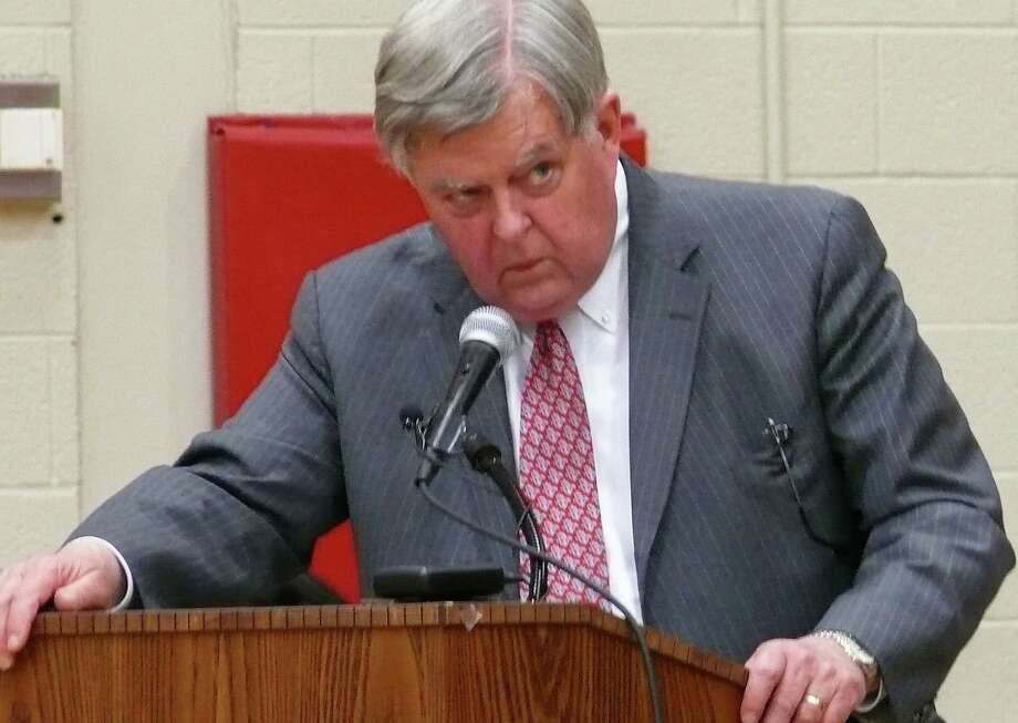 "Fiscal Officer Paul Hiller told Republicans on the Representative Town Meeting Tuesday that their plan to slash $850,000 from the contingency account was ""financial suicide."" Photo: Genevieve Reilly / Fairfield Citizen"