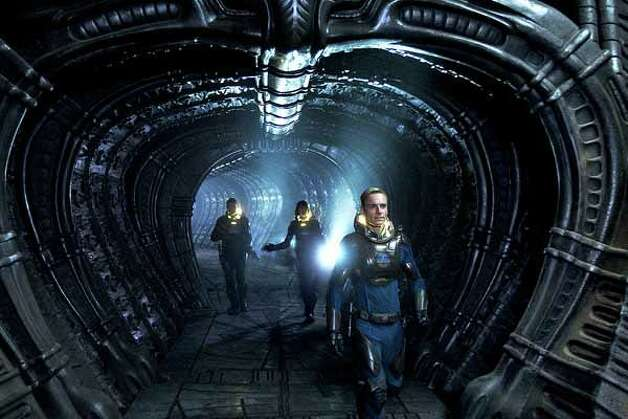 """Prometheus  opens June 8. The cast includes Patrick Wilson, Noomi Rapace and Michael Fassbender. Photo: . / This photograph is protected by United States copyright law and may not be reproduced, distributed, transmitted, displayed, published or broadcast without the prior written permission of the copyright owner. Licensing requests should be sent to photosales@nytimes.com."