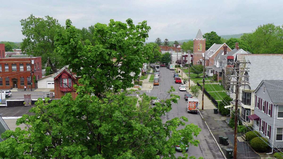 A view down Hudson Avenue in Green Island N.Y. Wednesday May 9, 2012. (Michael P. Farrell/Times Union)