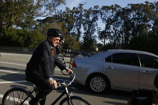 Mayor Ed Lee biking to work from Golden Gate Park at John F. Kennedy Dr.  in San Francisco, Calif., in the 18th annual Bike to Work Day on Thursday, May 10, 2012. Photo: Liz Hafalia, The Chronicle