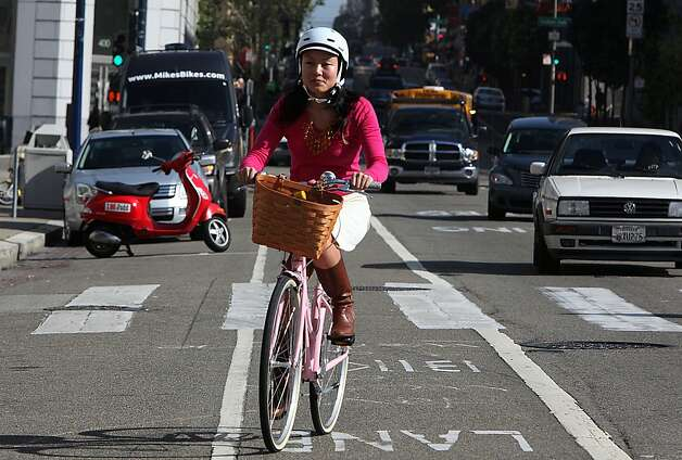 District 6 supervisor Jane Kim bikes to work in San Francisco, Calif., in the 18th annual Bike to Work Day on Thursday, May 10, 2012. Photo: Liz Hafalia, The Chronicle