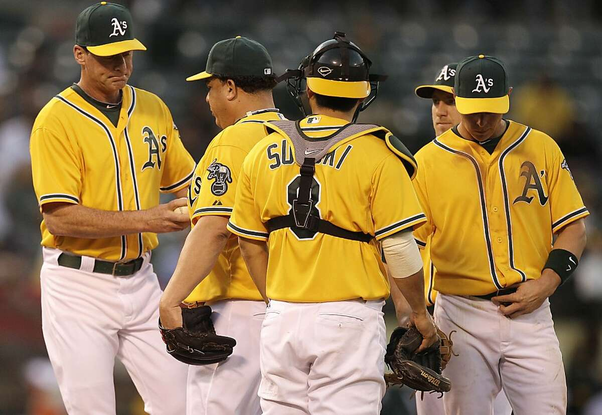 Oakland Athletics manager Bob Melvin, left, removes pitcher Bartolo Colon, second from left,from the baseball game against the Detroit Tigers during the third inning, Thursday, May 10, 2012, in Oakland, Calif. (AP Photo/Ben Margot)