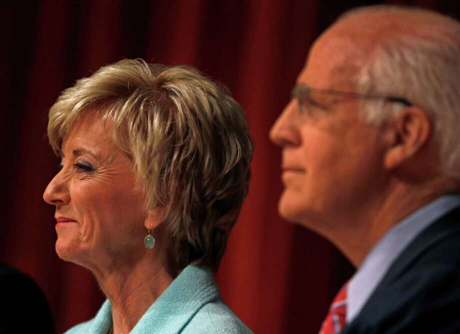 Former U.S. Rep Christopher Shays, R-Conn., right, and 2010 U.S. Senate nominee Linda McMahon, listen during a debate for the seat being vacated by U.S Sen. Joe Lieberman, I-Conn., in Norwich, Conn., April 19, 2012. (AP Photo/Charles Krupa) Photo: Charles Krupa, Associated Press / AP