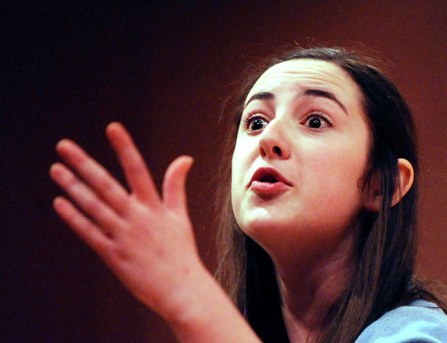 Greenwich High School student Katie Weatherseed performs during the English-Speaking Union's 28th annual Shakespeare Competition for high school students at Greenwich Library March 7, 2011. Weatherseed placed first in the competition. She went on to place third in the national competition in New York City on April 24. Photo: Bob Luckey / Greenwich Time
