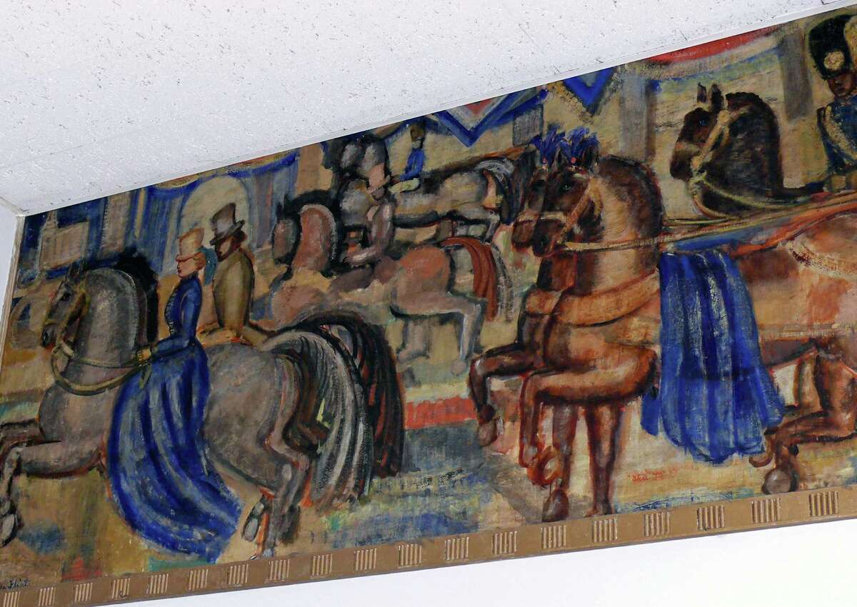A portion of the New Deal era mural in the lobby at the U.S. Post Office at 1262 Post Road.