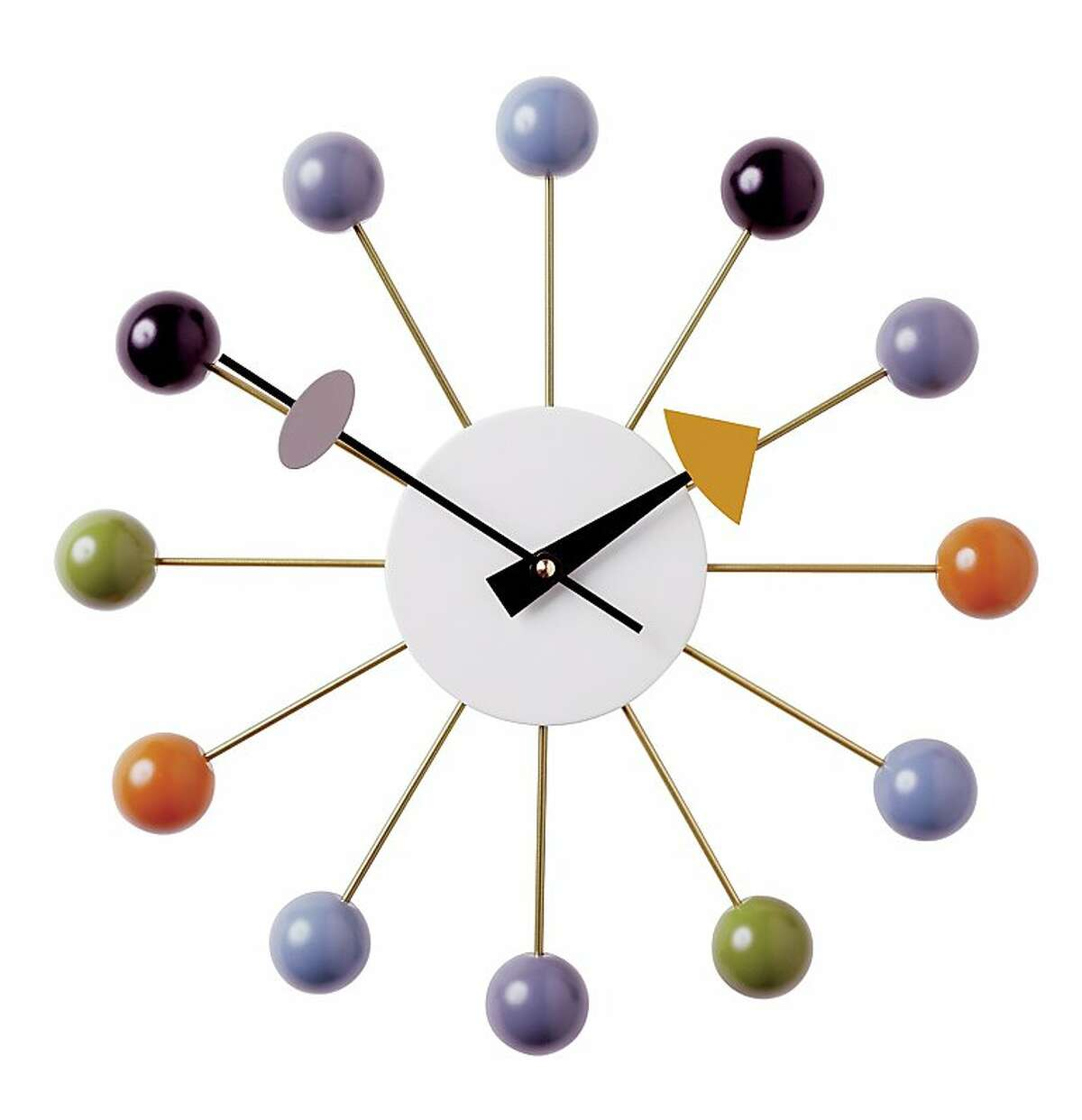More: Nelson Ball Clock in Multi, $310.25, from Design Within Reach (dwr.com)