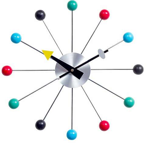Less: Multi-Colored Ball Clock, $30, from Lexington Modern (lexingtonmodern.com) Photo: Lexingtonmodern.com