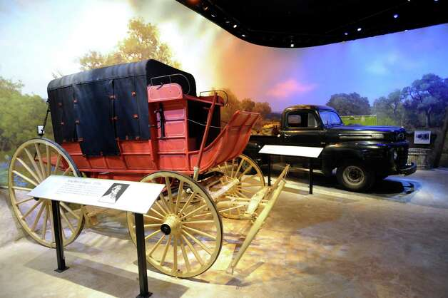 This wagon was used on the King Ranch in the 1870s. It is parked by a 1949 Ford truck at the South Texas Heritage Center at the Witte Museum, which will open on Memorial Day weekend. May 9, 2012. Billy Calzada / San Antonio Express-News Photo: BILLY CALZADA, San Antonio Express-News / SAN ANTONIO EXPRESS-NEWS