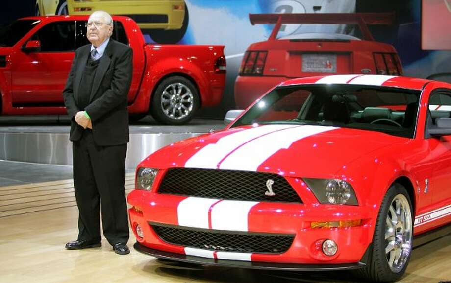NEW YORK - MARCH 23:  Manufacturer and automotive legend Carroll Shelby stands next to the Ford Shelby Mustang Cobra GT500 at the 2005 New York International Auto Show March 23, 2005 in New York City. The show features nearly 1,000 automobiles and continues through April 3 at the Jacob Javits Convention Center.  (Photo by Mario Tama/Getty Images) (Getty Images)